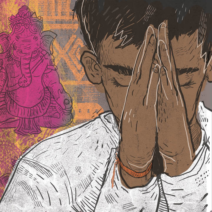 An illustration of a young brown-skinned child with eyes closed and hands clasped in front of their face in prayer.
