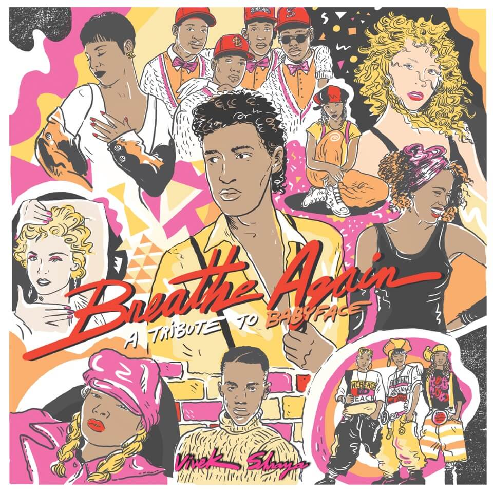 "A 1990s-style illustration of (clockwise from top left) Toni Braxton, Boyz II Men, Brandy, Mariah Carey, Whitney Houston, TLC, Tevin Campbell, Mary J. Blige, and Madonna, with Kenneth ""Babyface"" Edmonds at the centre, and colourful handwritten text: ""Breathe Again: A Tribute to Babyface""."