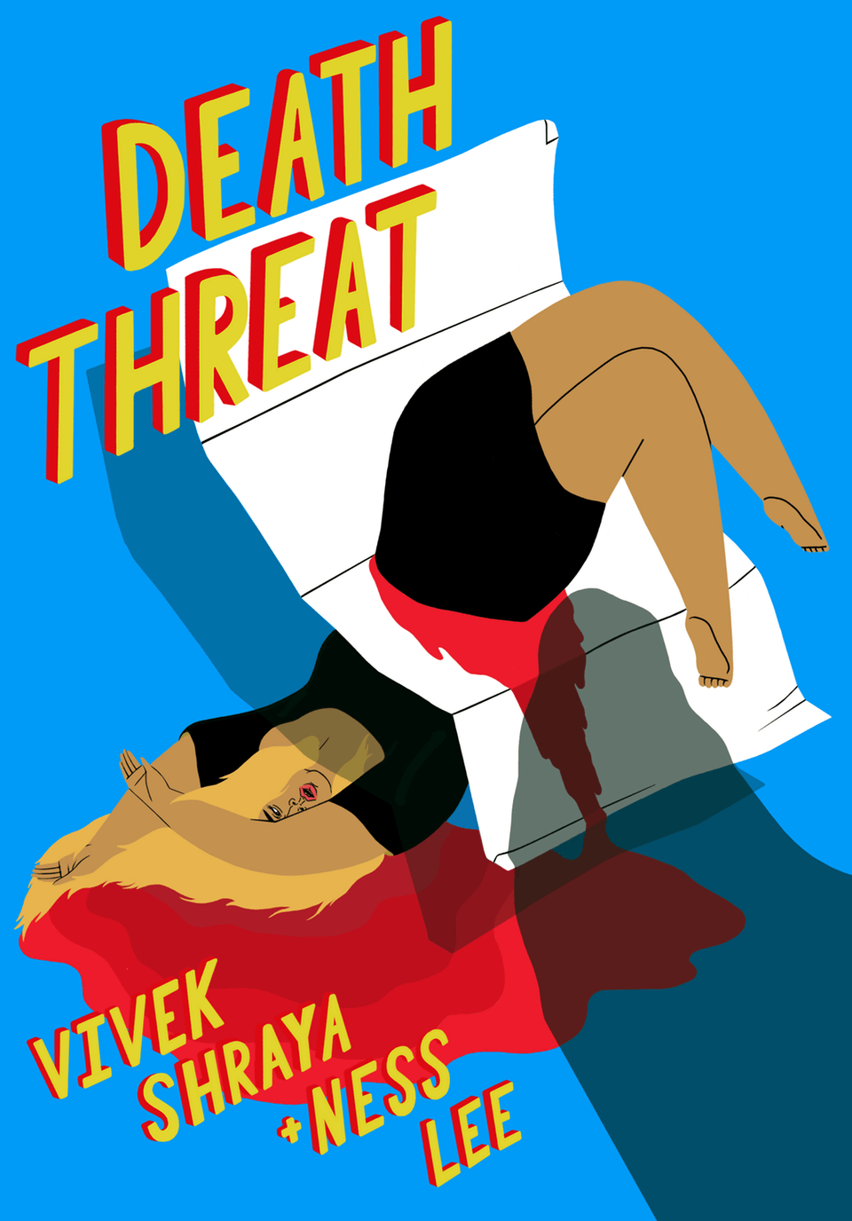 A surreal illustration of a woman being cut in half by a piece of mail, lying in a pool of blood while an indistinct shadow looms from out of frame. Hand-lettered text reads 'Death Threat. Vivek Shraya and Ness Lee.'