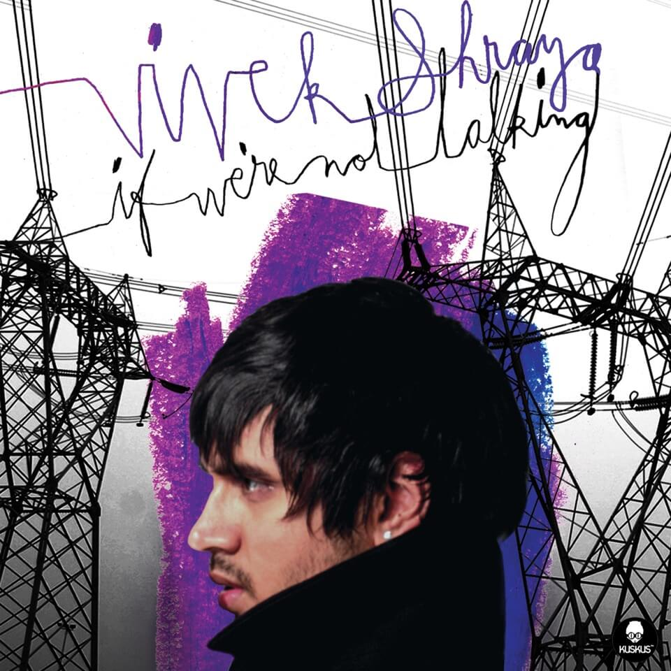 "A person's head in profile and the turned-up collar of their black coat against silhouettes of electrical transmission towers and a wash of blue and purple paint, with scribbled purple and black letters, ""Vivek Shraya. If We're Not Talking."""