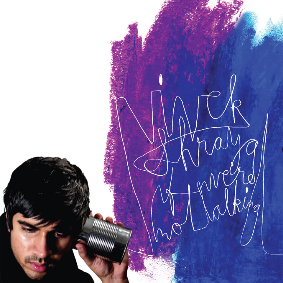 "A brown-skinned person against a white background, listening to a tin-can telephone. The ""cord"" from the can turns into scribbled letters against a wash of blue and purple paint, ""Vivek Shraya. If We're Not Talking."""