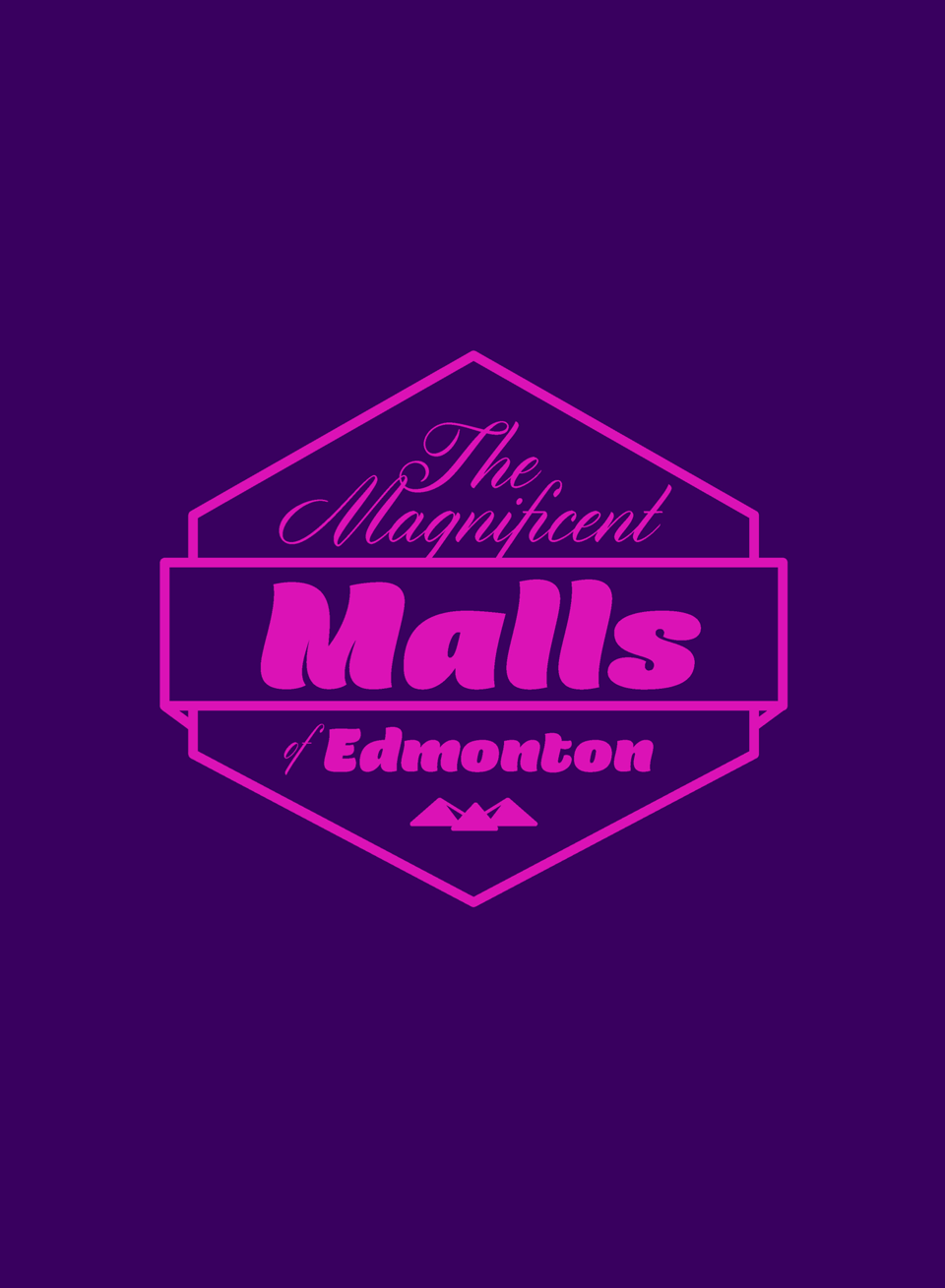 A purple cover with stylized pink lettering: 'The Magnificent Malls of Edmonton.'
