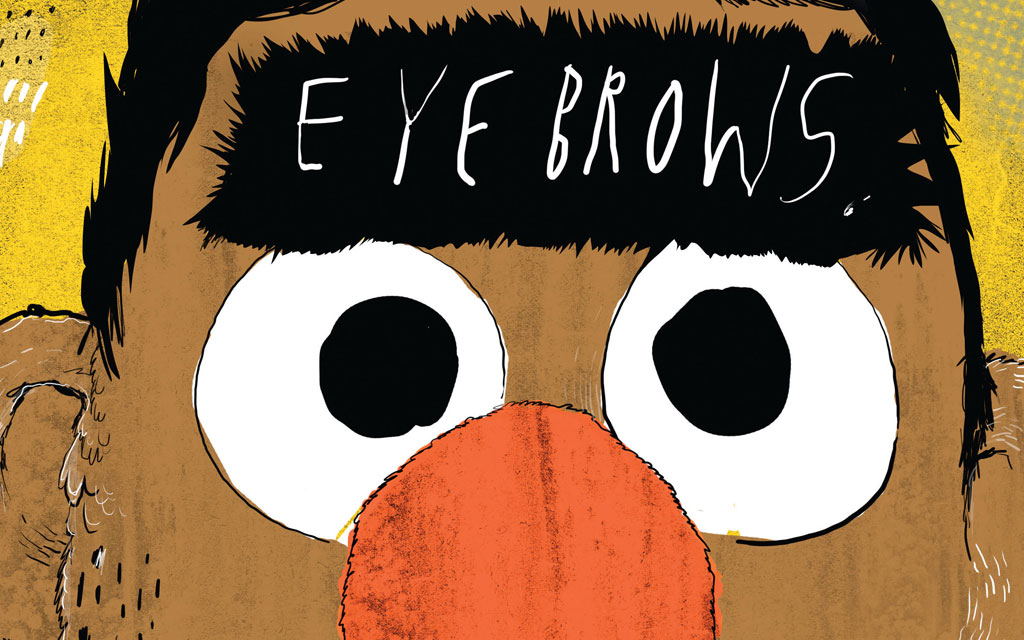 "An illustration of a yellow cartoon character with a bushy ""unibrow,"" and the word ""Eyebrows"" written across it in white lettering."