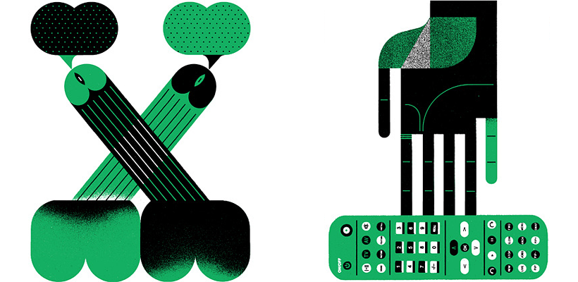 "Two stylized green-and-black illustrations. The first is of two crossed penises, one lightly coloured and one darker, each with a ""word bubble"" issuing from the head. The second is of a hand reaching for a television remote control."