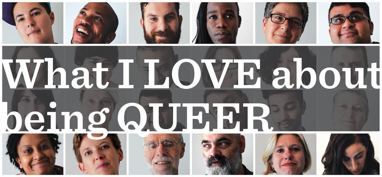 A section of the What I LOVE about being QUEER poster, showing the film title and a photo mosaic of smiling faces.